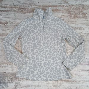 Old Navy Gray and White Leopard Quarter Zip Top